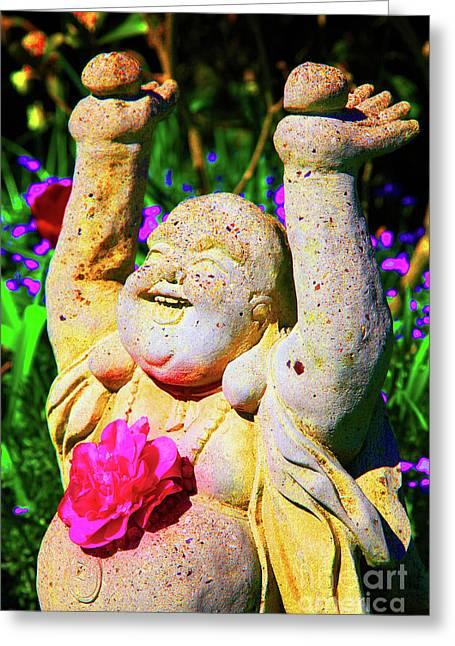 Buddha Joy Greeting Card by Christopher Christoforou