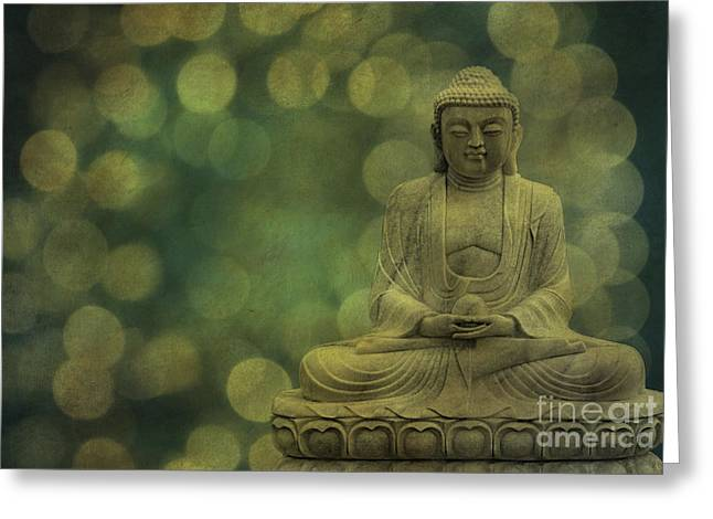 Hannes Greeting Cards - Buddha Light Gold Greeting Card by Hannes Cmarits