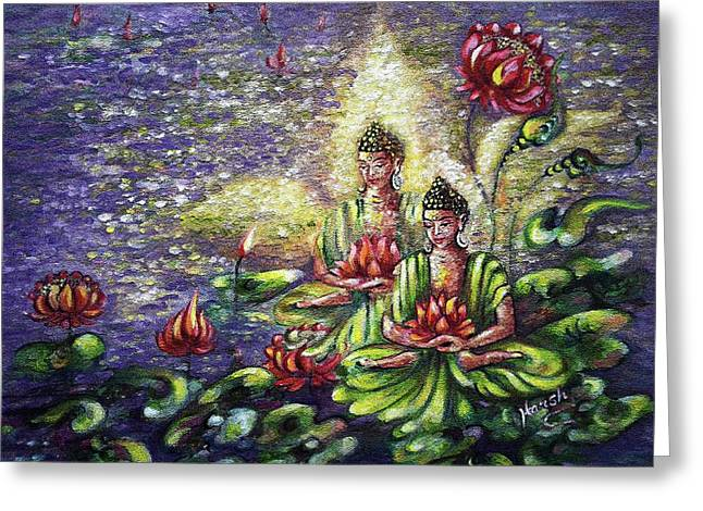 Buddha Lotus Greeting Card by Harsh Malik