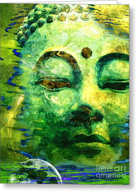 Buddha Moon Greeting Card by Khalil Houri