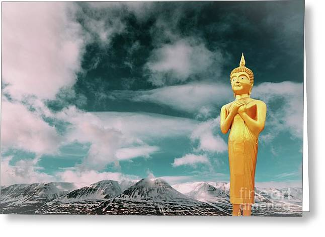 Buddha Nepal Greeting Card by Mike Borth