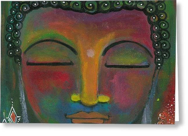 Greeting Card featuring the painting Buddha Painting by Prerna Poojara