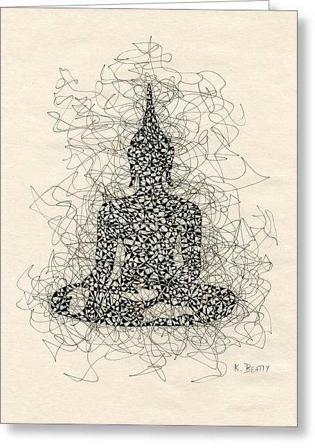 Buddha Pen And Ink Drawing Greeting Card by Karla Beatty