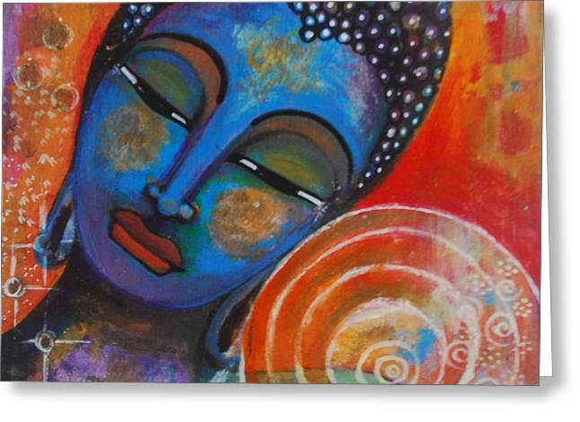 Greeting Card featuring the painting Buddha by Prerna Poojara