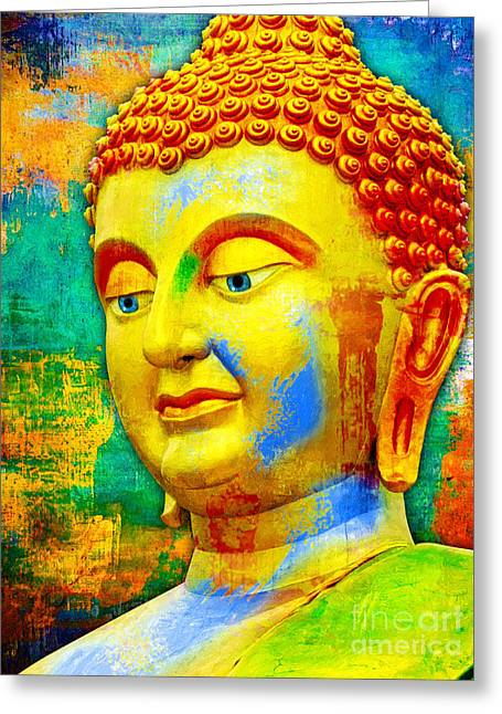 Buddha Rainbow Greeting Card by Khalil Houri