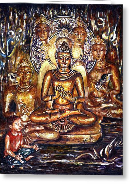 Buddha Reflections Greeting Card by Harsh Malik