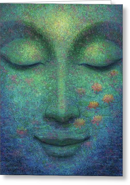 Greeting Card featuring the painting Buddha Smile by Sue Halstenberg