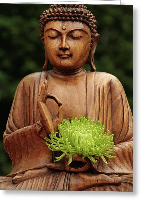 Buddha Statue Holding Flower Greeting Card