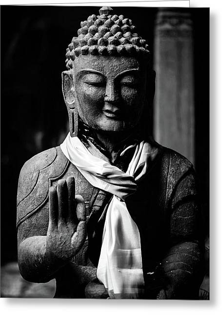 Buddha Statue In Black And White Greeting Card