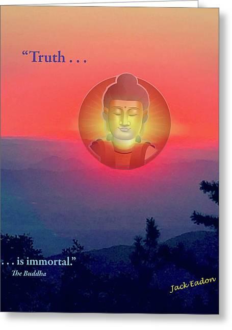 Buddha Sunset Greeting Card by Jack Eadon