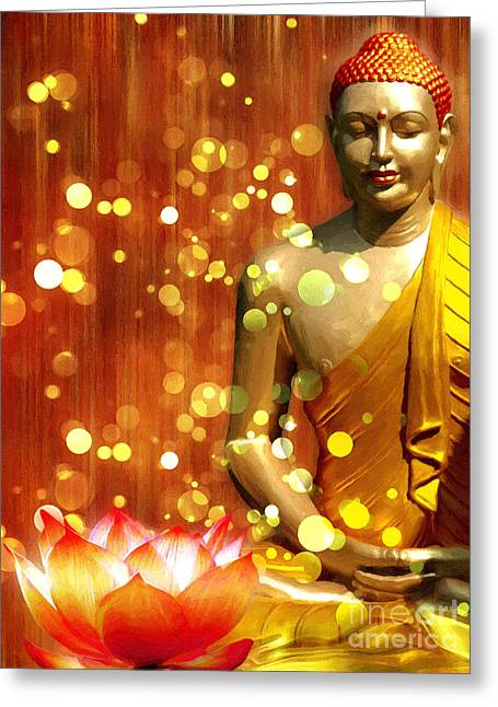 Buddha Synthesis Greeting Card by Khalil Houri