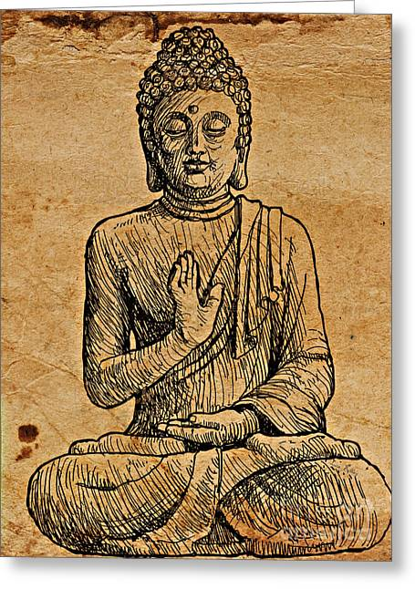 Greeting Card featuring the drawing Buddha The Minimalist by Lita Kelley
