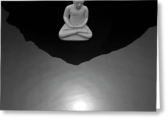 Buddha V  Bw Greeting Card by David Gordon