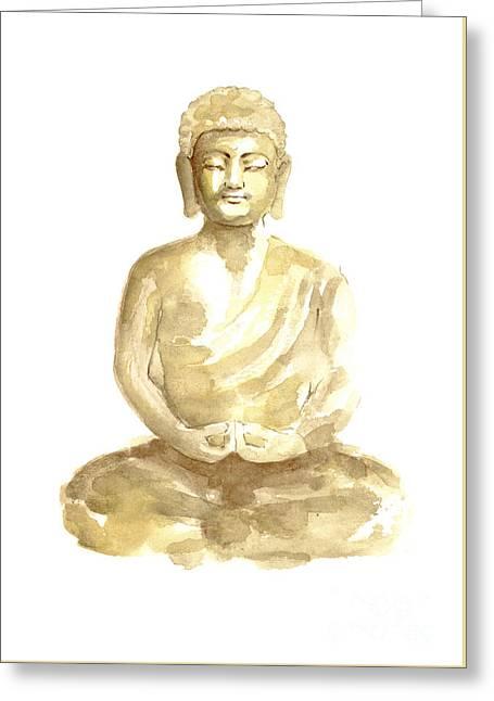 Buddha Watercolor Art Print Painting Greeting Card