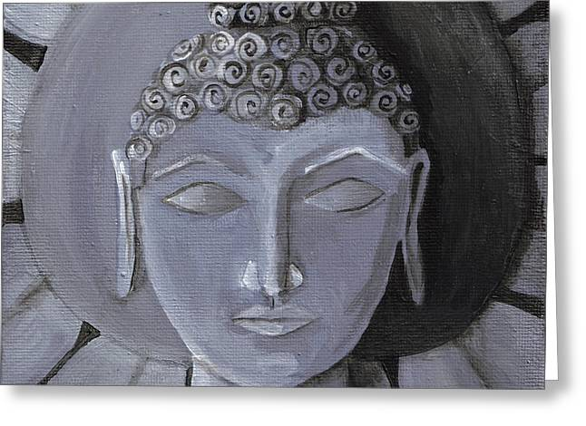 Buddha With A Stone Lotus Greeting Card by Nicole Werth