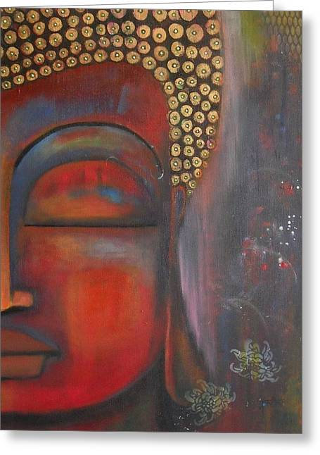 Buddha With Floating Lotuses Greeting Card by Prerna Poojara