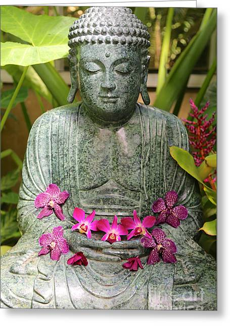 Buddha With Orchids Greeting Card by Carol Groenen
