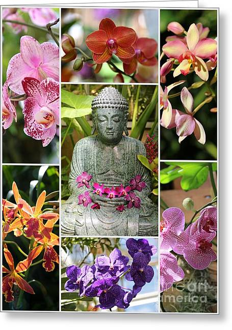 Buddha With Orchids Collage Greeting Card by Carol Groenen