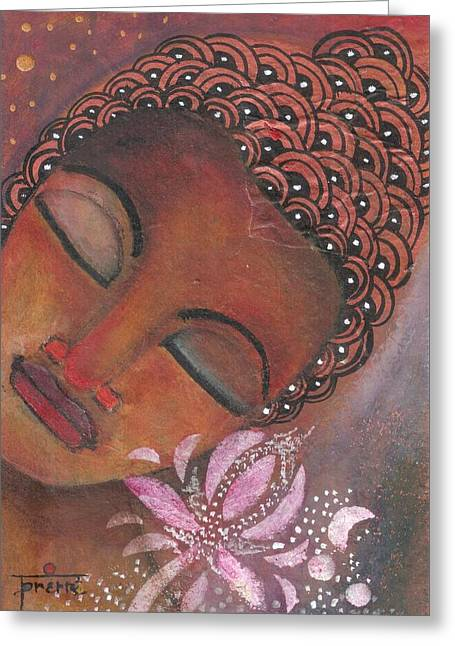 Greeting Card featuring the painting Buddha With Pink Lotus by Prerna Poojara