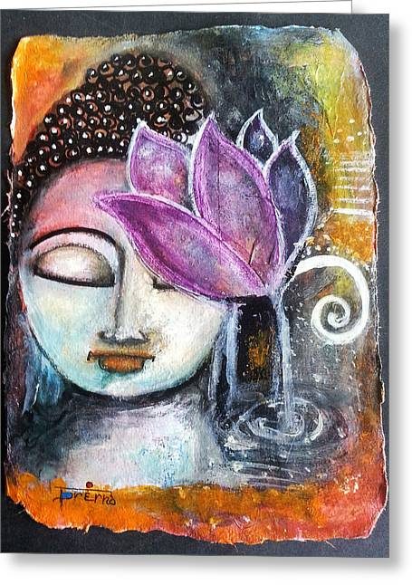 Buddha With Torn Edge Paper Look Greeting Card by Prerna Poojara