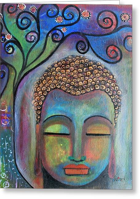 Greeting Card featuring the painting Buddha With Tree Of Life by Prerna Poojara