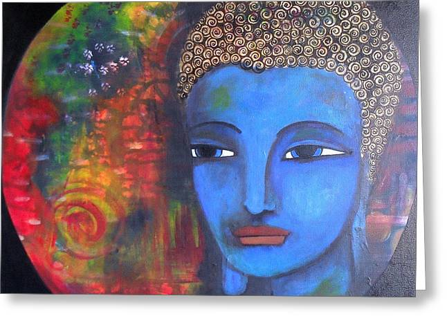 Buddha Within A Circular Background Greeting Card