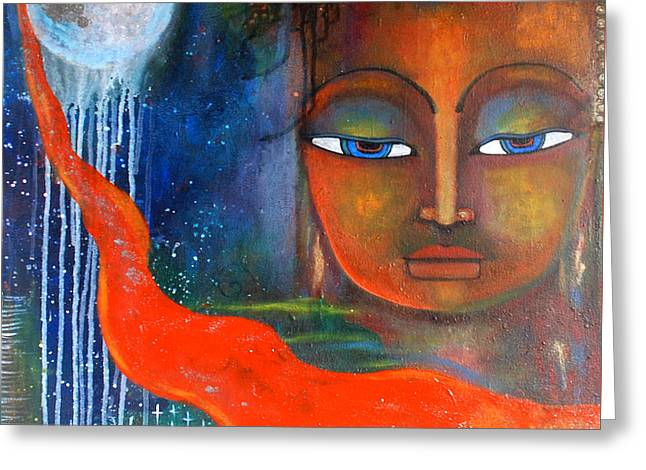 Buddhas Robe Reaching For The Moon Greeting Card by Prerna Poojara