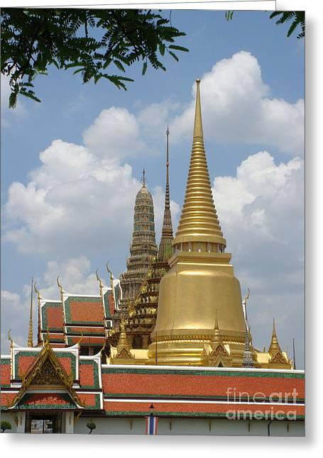 Buddhist Chedi - Bangkok Greeting Card by Mike Holloway
