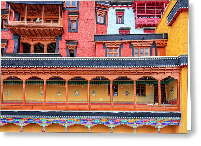 Greeting Card featuring the photograph Buddhist Monastery Building by Alexey Stiop