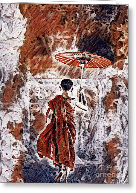 Greeting Card featuring the painting Buddhist Monk by Lita Kelley
