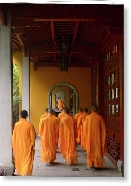 Buddhist Monks In Orange Robes Congregating At The Dining Hall O Greeting Card