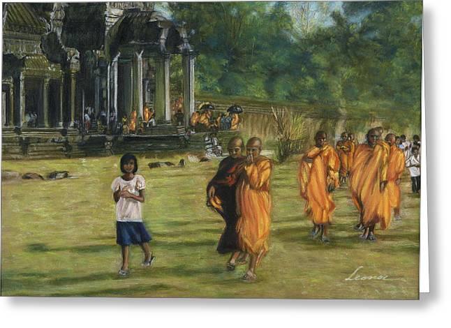 Buddhist Monks Greeting Card by Leonor Thornton