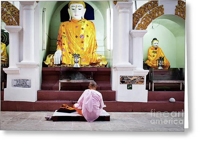 Greeting Card featuring the photograph Buddhist Nun At Shwedagon Pagoda by Dean Harte