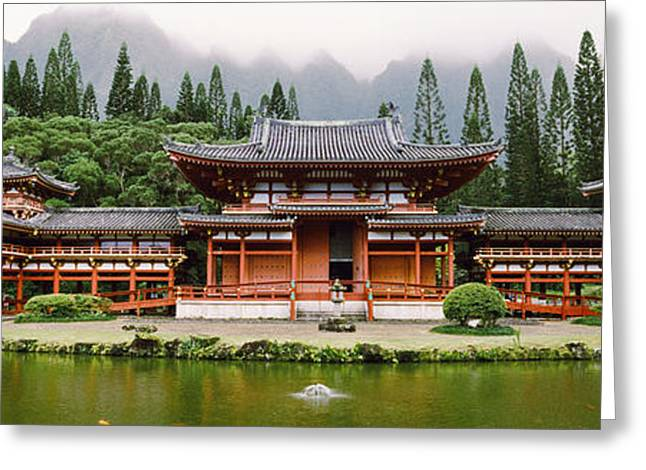 Buddhist Temple With Mountain Greeting Card by Panoramic Images