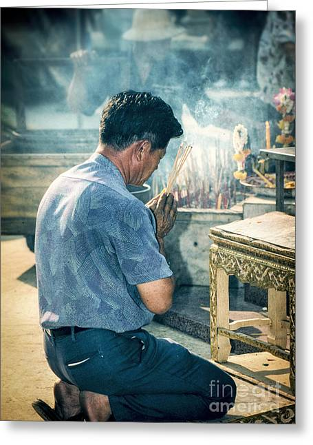 Greeting Card featuring the photograph Buddhist Way Of Praying by Heiko Koehrer-Wagner
