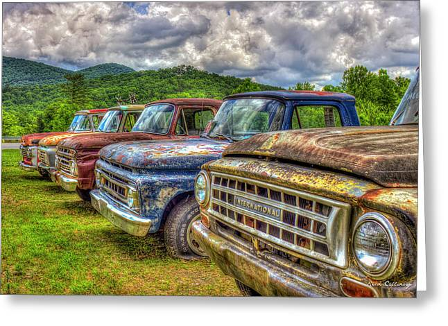 Buddies The Line Up Antique Truck Art Greeting Card by Reid Callaway