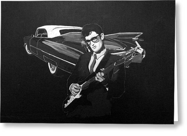 Buddy Holly And 1959 Cadillac Greeting Card