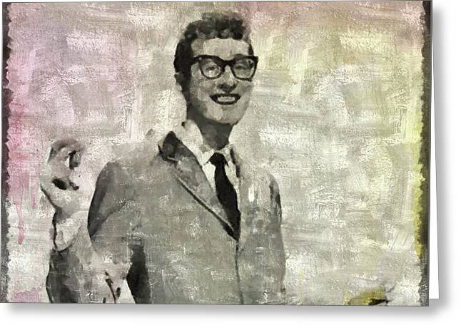 Buddy Holly Vintage Pop Star Greeting Card by Mary Bassett