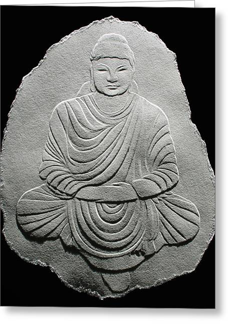 Budha - Fingernail Relief Drawing Greeting Card
