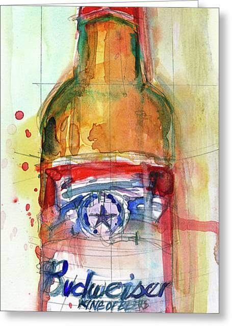 Budweiser Beer Bottle - Beer Art Greeting Card by Dorrie Rifkin