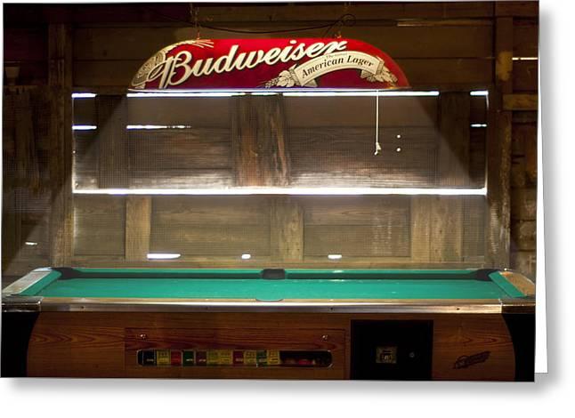 Budweiser Light Pool Table Greeting Card