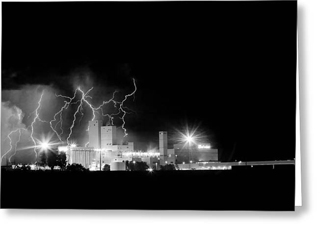 Budweiser Lightning Thunderstorm Moving Out Bw Greeting Card by James BO  Insogna