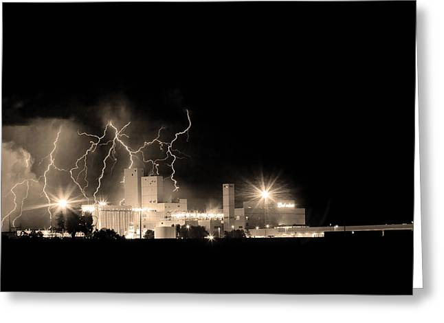 Budweiser Lightning Thunderstorm Moving Out Bw Sepia Greeting Card