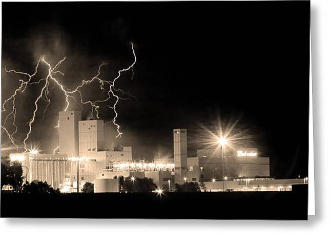 Budweiser Lightning Thunderstorm Moving Out Bw Sepia Panorama Greeting Card