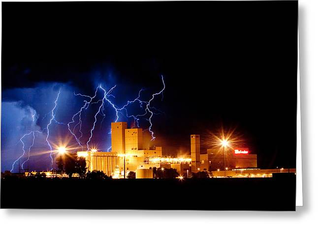 Budweiser Lightning Thunderstorm Moving Out Crop Greeting Card