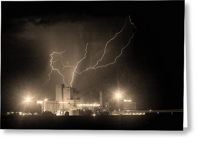 The Lightning Man Greeting Cards - Budweiser Powered by Lightning Sepia Greeting Card by James BO  Insogna