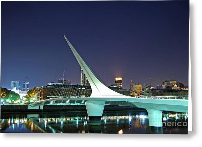 Buenos Aires - Argentina - Puente De La Mujer At Night Greeting Card
