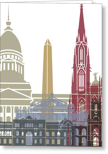 Buenos Aires Skyline Poster Greeting Card by Pablo Romero