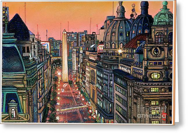Buenos Aires Twilight Greeting Card by Bernardo Galmarini