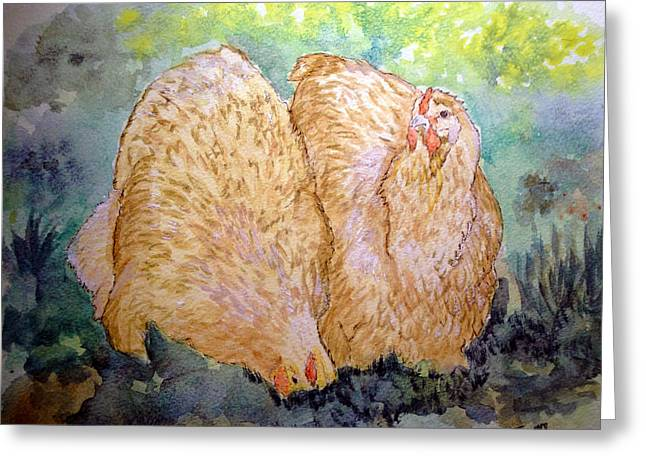 Buff Orpington Hens In The Garden Greeting Card